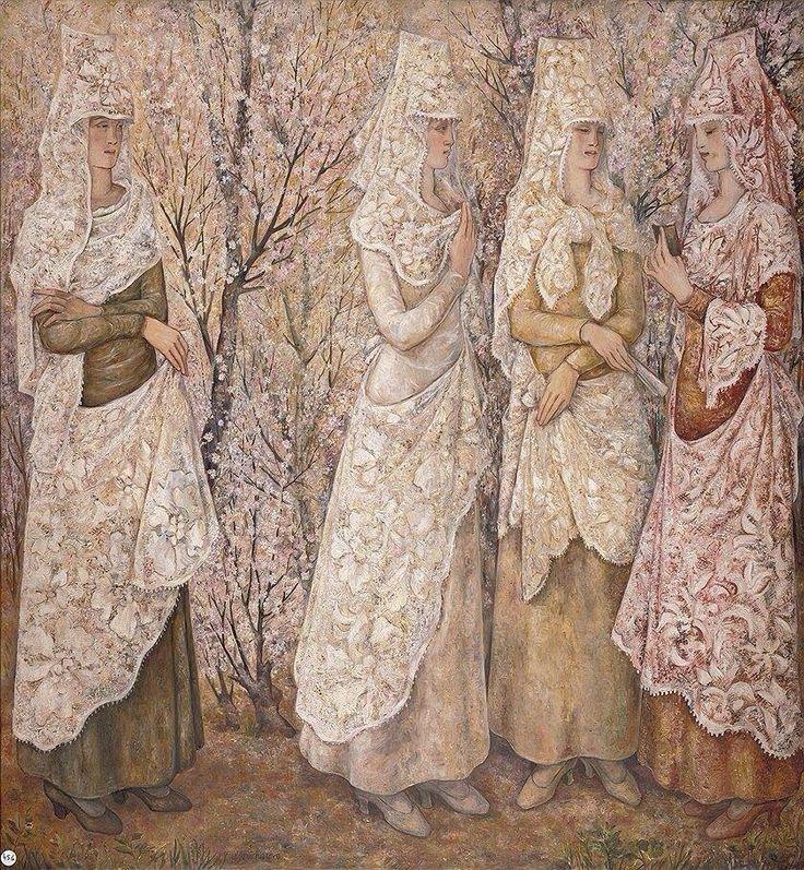 """Spring. White Spaniard."" | By Natalia Sergeevna Goncharova; 1932 | Russian artist, 1881-1962"