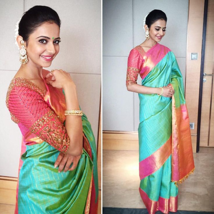 Rakul Singh in gorgeous real silk saree with embroidered pink blouse