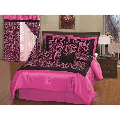 Pink Black Zebra Bedding