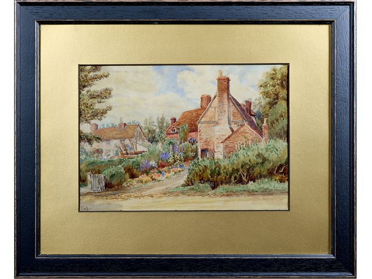 'View of Victorian Cottages & Gardens' by E F Beckett. Original early 20thC Watercolour. #SOLD
