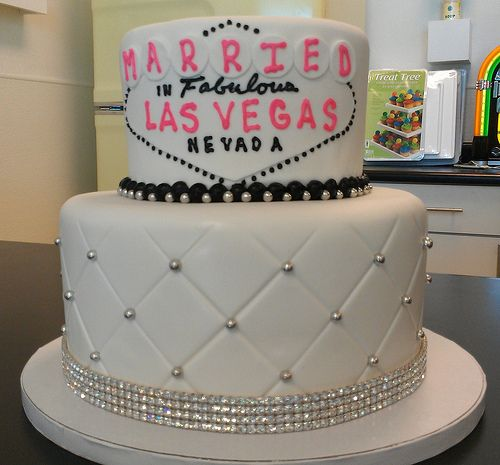 Quilted Two Tiered White Vegas Wedding Cake With Rhinestone Band By Retro Bakery Las