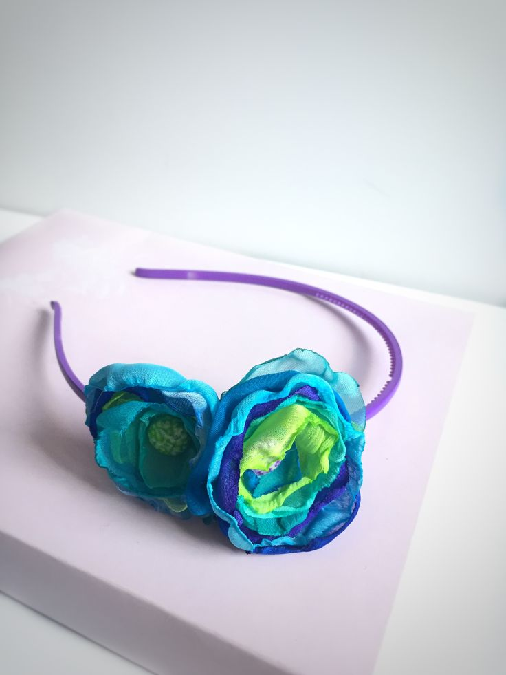 Nice Colorful headband with HandMade Organza Flowers. Take a look our shop->http://antoanetavitale.net