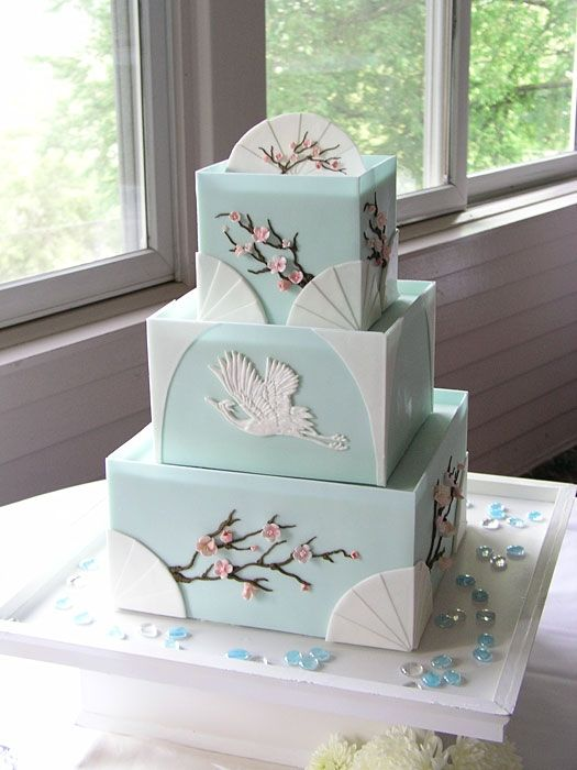 Japanese Art Deco Cake with cranes and cherry blossoms-love this minus the cranes
