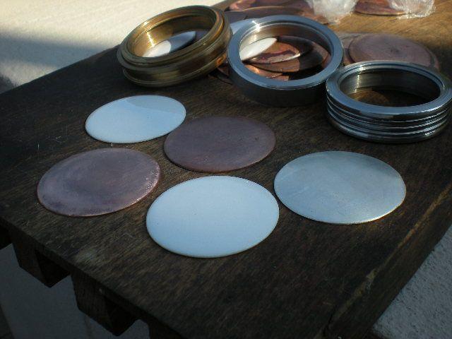 podkłady srebro, miedź i gotowy podkład emaliowany na biało