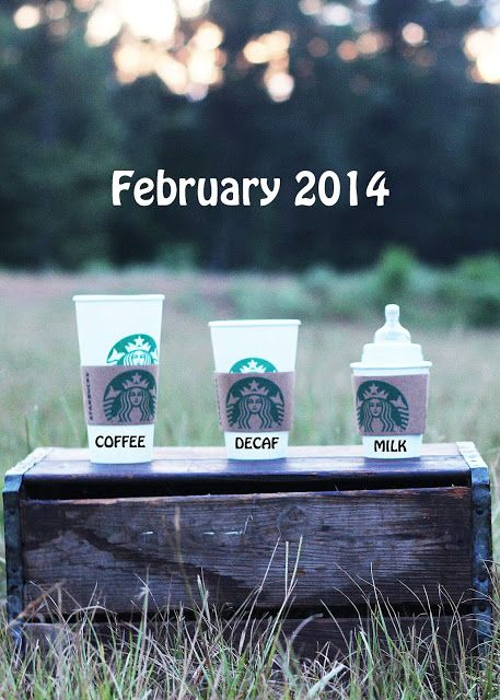 Oh my word!!! we didn't get the Starbucks shot for our weddings, now we have another chance! Pregnancy Announcement---for those coffee drinkers