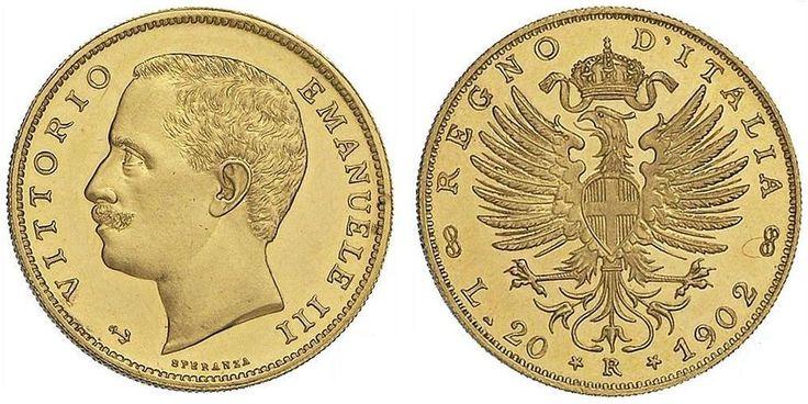 MARENGO ITALIANO - 20 Lire, Vittorio Emmanuele III - aquila sabauda, 1902 -1946 Peso: 6.4516 g (0.2074 ozt) Titolo: 900 (21.6 kt) Diametro: 21 mm Oro contenuto: 5.8064 g (0.1867 ozt)