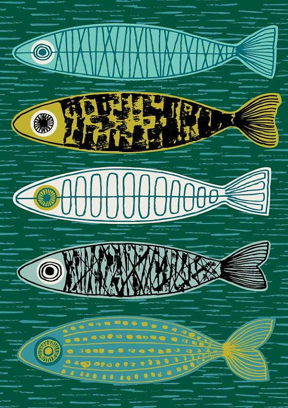 Five Fish by Eloise Renouf - All my images start life as something hand created, either painted, printed or drawn. My images are then digitally arranged and coloured. http://www.etsy.com/shop/EloiseRenouf