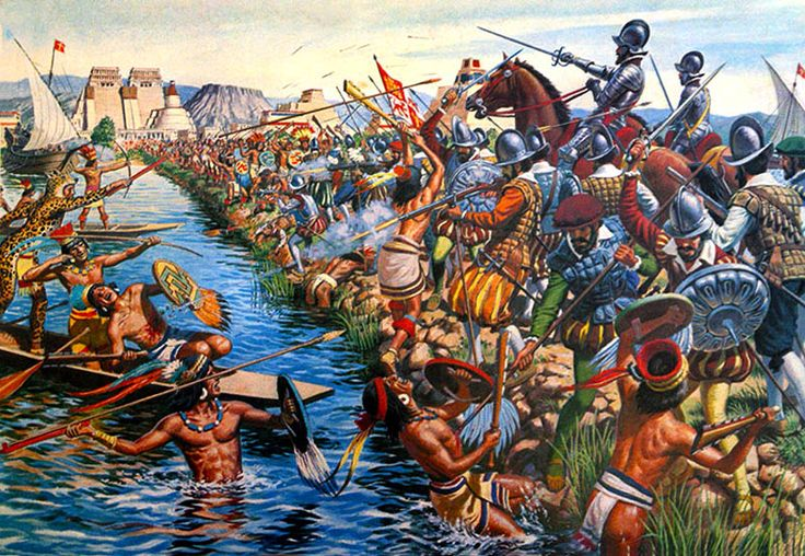"La Guerra contra el imperio Azteca.(war against Aztec Empire) ""Battle in Tenoctitlan, Mexico"""