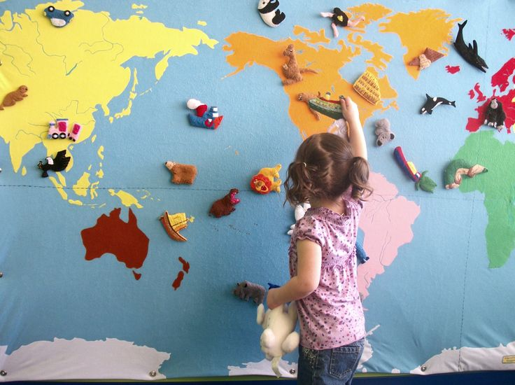 Map with little felt animals and landmarks like the great