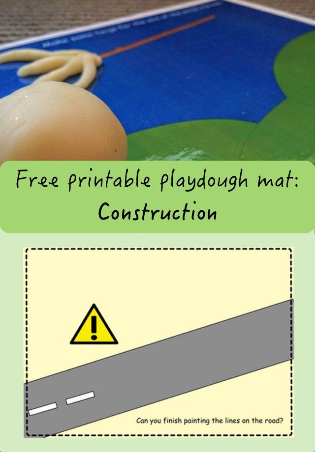 Free printable construction playdough mat