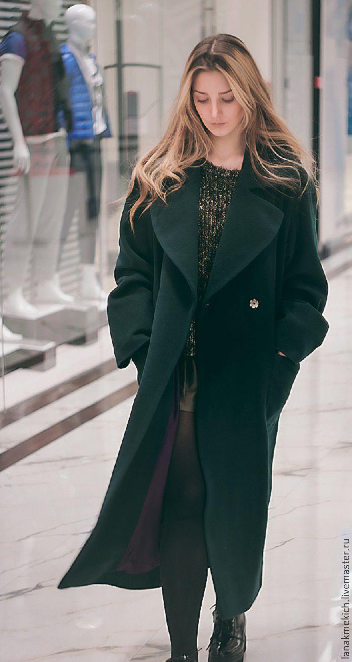 """Купить Пальто-халат """"Изумруд"""" look 2 - тёмно-зелёный, однотонный, зеленое пальто, пальто"""