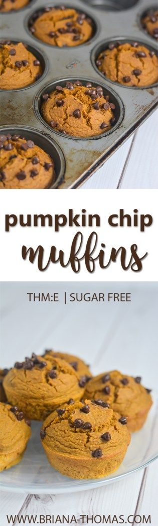 Pumpkin Chip Muffins - THM:E - low glycemic - low fat - sugar free - gluten free - dairy free - nut free - budget friendly - Trim Healthy Mama breakfast, snack, or dessert