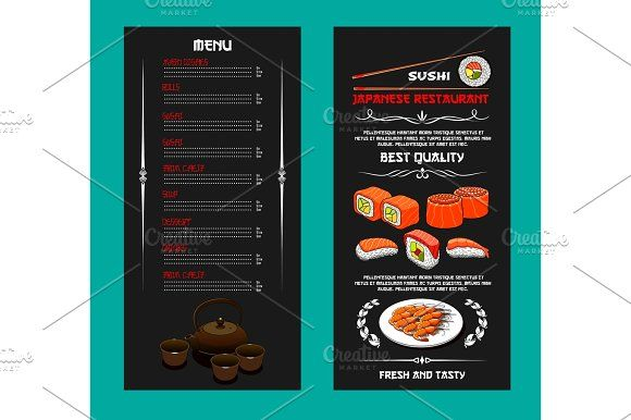 Vector menu of Japanese restaurant or sushi bar Graphics Japanese sushi bar or seafood restaurant menu template design. Vector sushi and rolls with salmon fi by Vector Tradition SM