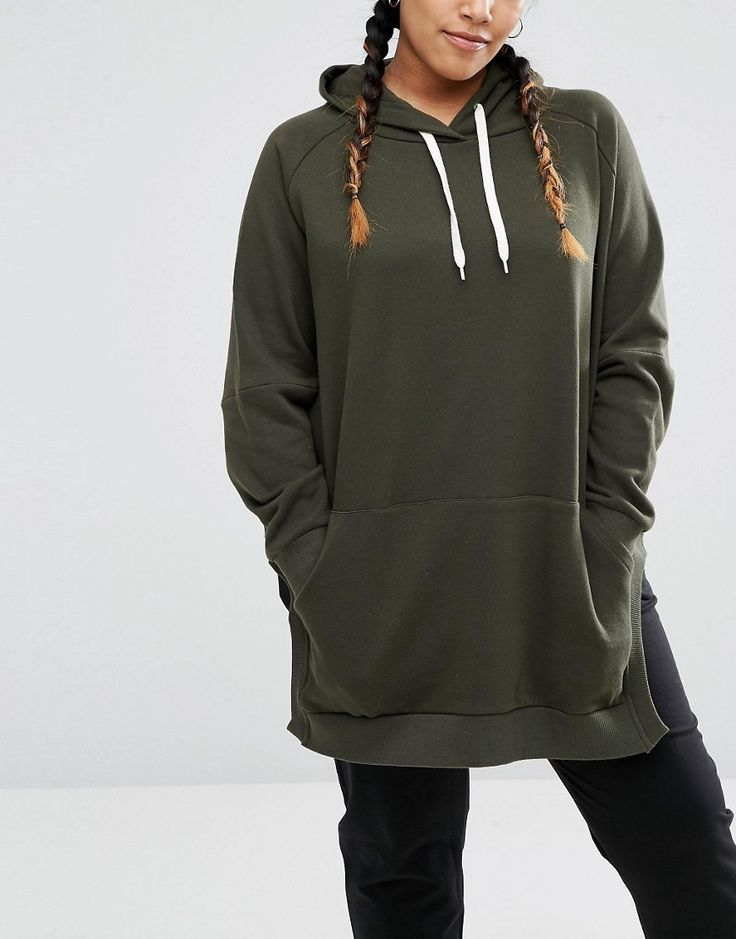 Image 3 of ASOS CURVE Hoodie in Oversized Fit with Side Splits