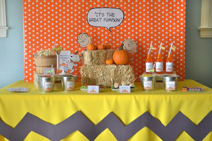 """It's the Great Pumpkin"" themed Charlie Brown Halloween Party by Sweet Festivity via Kara's Party Ideas"