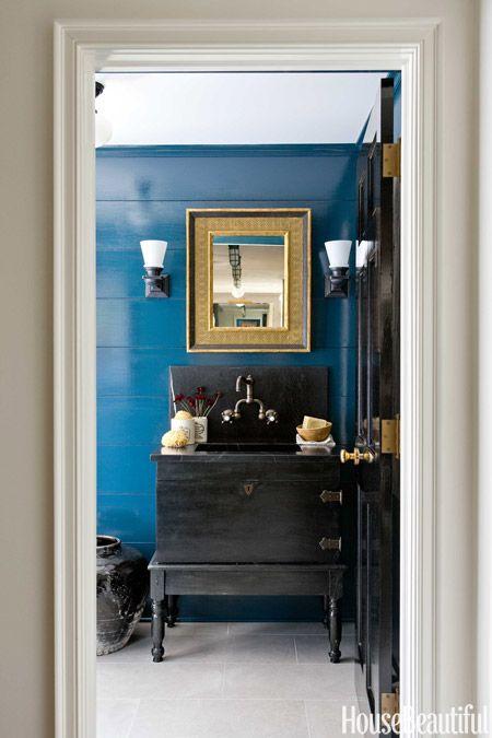 Farrow & Ball's Hague Blue in Powder Room