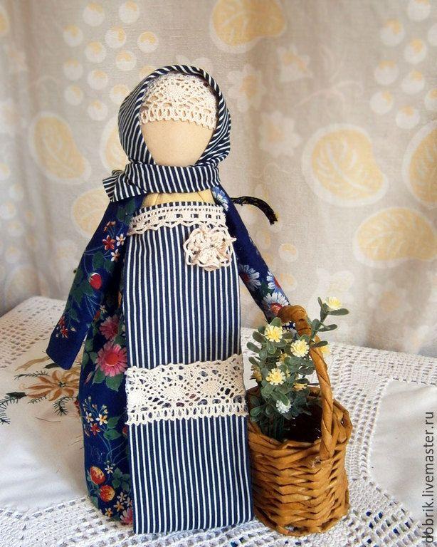 Купить Народная кукла Помощница - синий, народная кукла, кукла оберег, народный стиль
