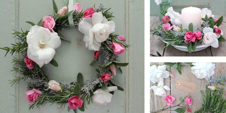 Un semplice fai da te perfetto come regalo per la festa della mamma: una decorazione floreale da appendere alla porta d'ingresso oppure da usare come centrotavola.