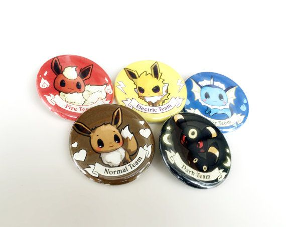 "Eevee Evolutions 1.5"" Button SET A: Eeevee, Flareon, Jolteon, Vaporeon, Umbreon"