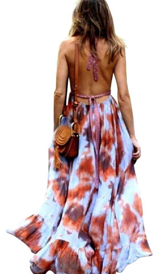 60355a75 ZARA Tie-Dye Maxi Crochet Halter Open Back Boho Dress One SIZE M  Ref.2815/784 #ZARA #MaxiALineDress #PartyCocktail