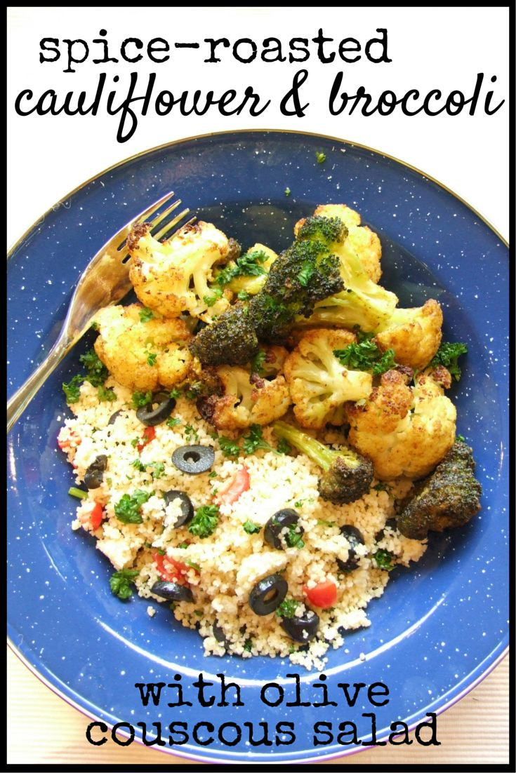 Crispy, tender broccoli & cauliflower are served with a subtly-flavoured, summery couscous salad. A relaxing vegan dinner that's easy to make & easy to eat!
