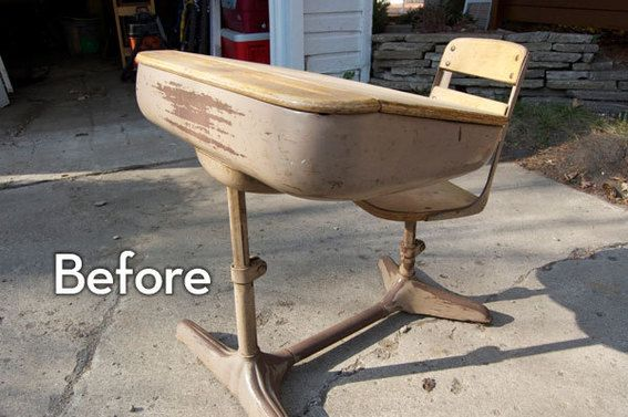 """A Glitter-y Vintage School Desk Makeover (I now want the """"Glitter Blast"""" spray for just about everything in the house, thank you)!"""