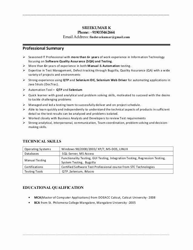 Qa Tester Resume No Experience New Sreekumar 6 Years Qa Manual Automationqtp Tester Resume Manual Testing Resume No Experience Good Resume Examples