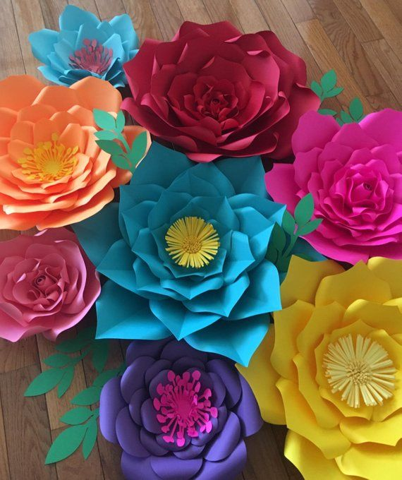 8 Pc Giant Paper Flowers Fiesta Theme Frida Kahlo Mexican Etsy