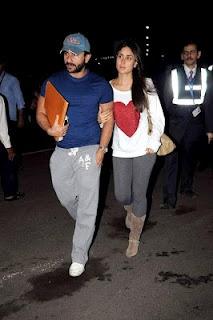 Kareena Kapoor and Saif Ali Khan Snapped outside Airport.   Bollywood Cleavage