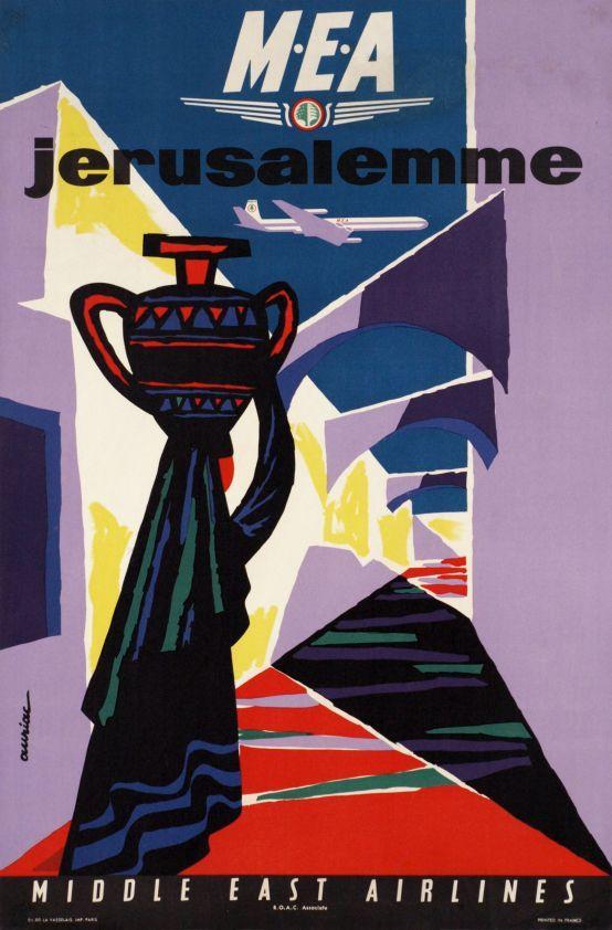 MEA - Middle East Airlines, Jerusalemme 1962 circa - AURIAC Jacques