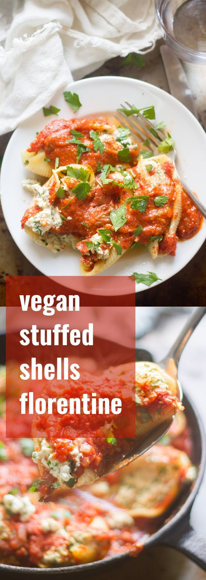 Rich and creamy cashew-tofu ricotta is blended with fresh spinach, stuffed into tender little pasta pockets and smothered in a quick garlicky tomato sauce to make these vegan stuffed shells.