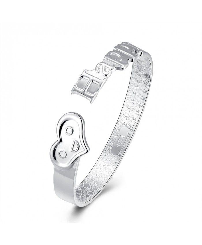New Fashion 925 Sterling Silver Happy Love Open Bracelet