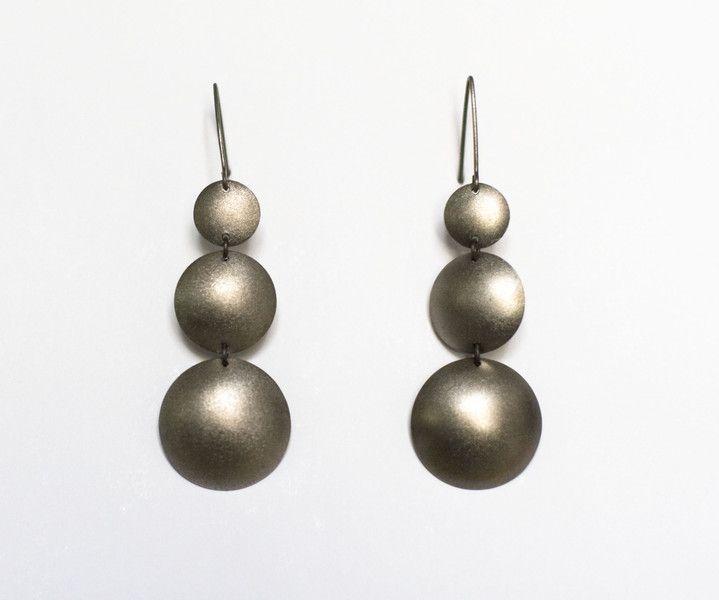 Three Moons Earrings, Silver  Dangle Earrings from Arpelc Blue Titanium Jewelry by DaWanda.com