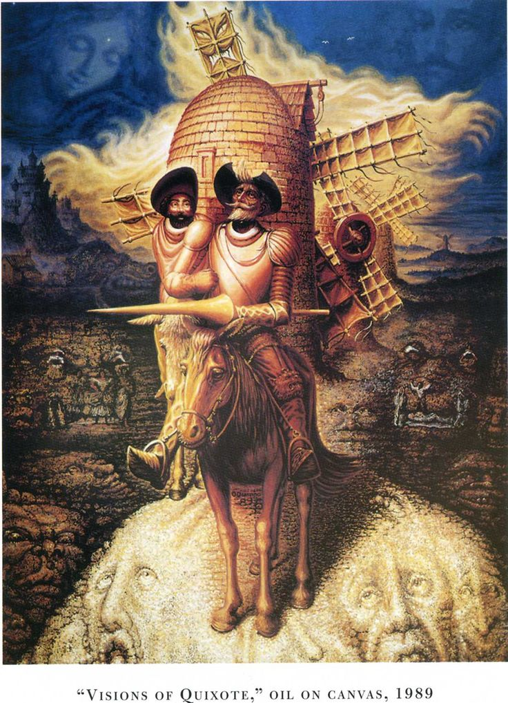 'Visions of Quixote' (1989) - by Octavio Ocampo - the adventures of Don Quixote make up the portrait of this 'mad' hero.