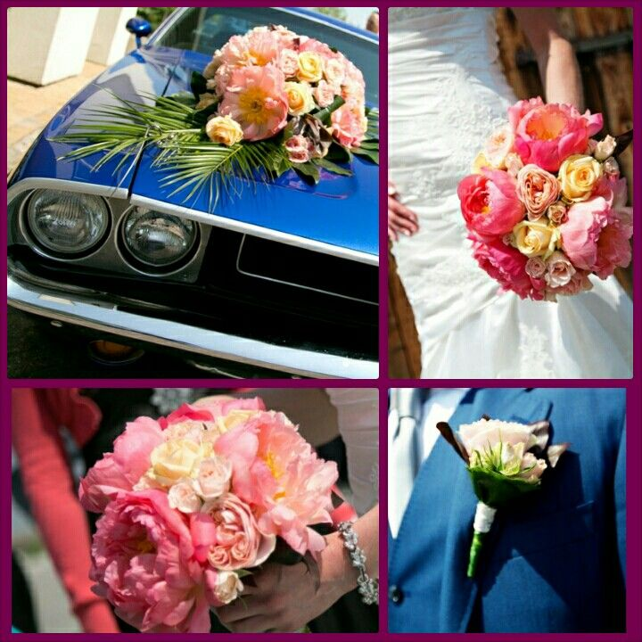 Bridal flowers with peache garden roses and peony