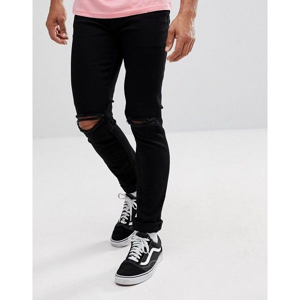 ASOS Skinny Jeans In Black With Knee Rips ($45) ❤ liked on Polyvore featuring men's fashion, men's clothing, men's jeans, black, mens super skinny ripped jeans, mens distressed skinny jeans, mens flap pocket jeans, mens super skinny jeans and mens skinny fit jeans