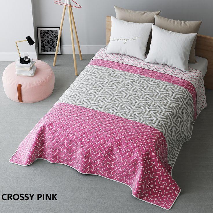 Różowa designerska narzuta pikowana z szarymi wzorkami