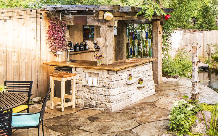 Rustic Drystone And Barn Beam Pergola Bar In Guelph On