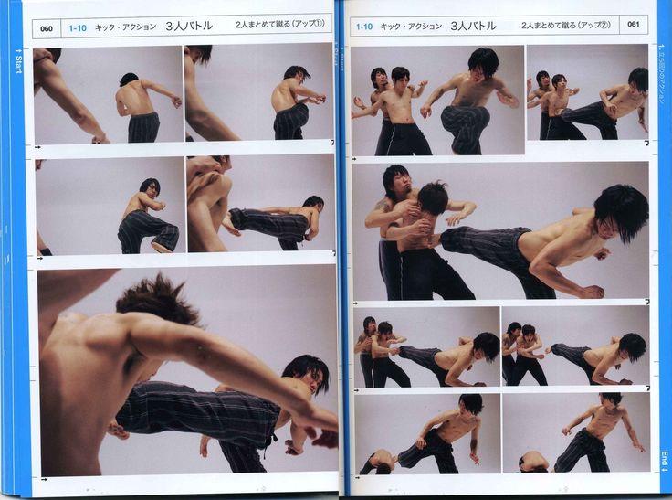 瞬間連写アクションポーズ―立ち回り・スタント・アクロバット [単行本]Real Action Pose Collection ------------------ A beautiful reference book. I bought mine from Kinokinuya when I was living in California. ---    They have published three books so far, the 2nd one is focusing on sword action and the third one has a female as the main fighter. I own the swords one and will be looking for the third book at SDCC.  ----- http://eyecager.tumblr.com