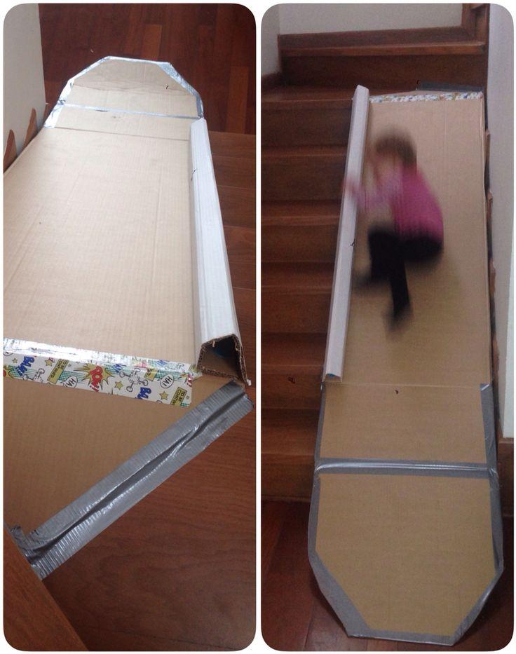 Indoor slide!  #cardboard #ducktape