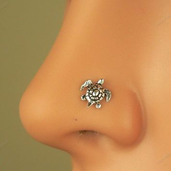 sterling silver tiny turtle nose ring nose stud..  ❤❤♥For More You Can Follow On Insta @love_ushi OR Pinterest @ANAM SIDDIQUI ♥❤❤
