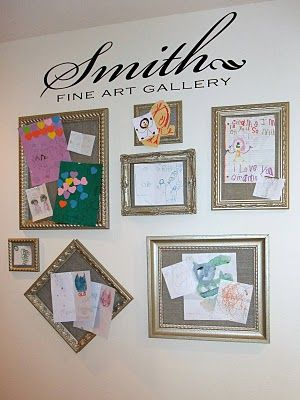 "Love the ""Last Name Fine Art Gallery"".  Cork bulletin boards covered with burlap & framed."