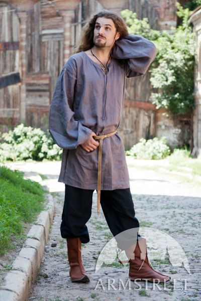 Medieval Classic Mens Shirt Tunic Natural Flax Linen. $61.00, via Etsy.