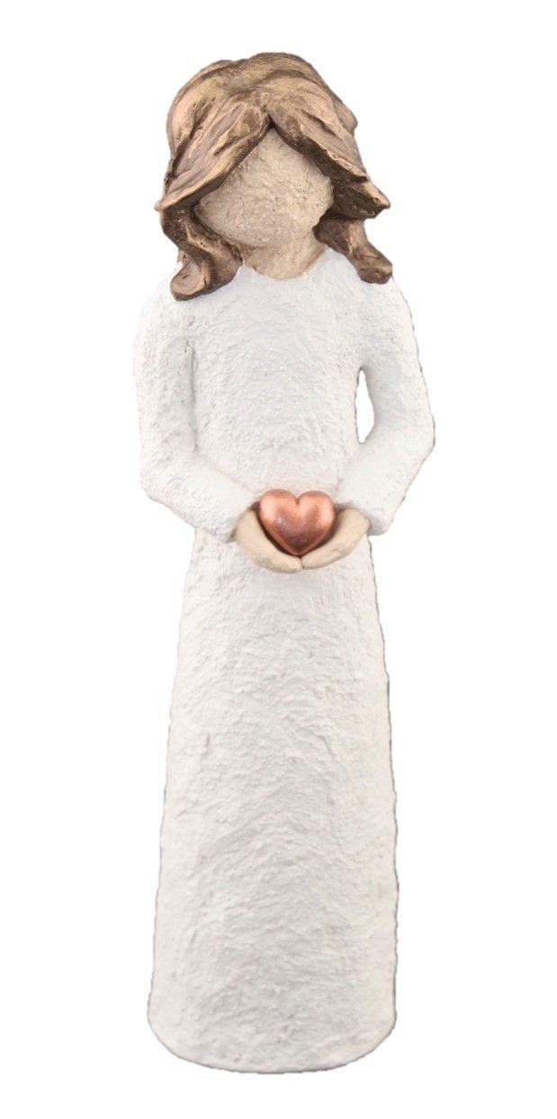 Damefigur Holder Hjerte - Brunt Hår, 21 cm