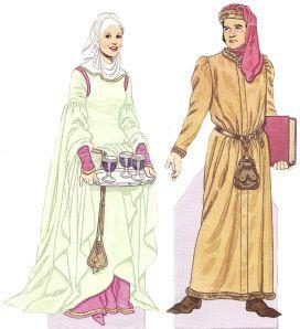 c. 1250 La donna indossa un cotehardie verde pallido con una gonna e maniche in un chainse marrone. Cinture erano spesso indossati come in questa foto per sostenere le gonne e consentire movimenti più liberi di moda fino alla fine del XIV secoloIndossa una gorgiera e soggolo sui capelli e il collo. L'uomo indossa un houppeland pelliccia con pelle sulla parte esterna e una cintura di cuoio con un'altra forma di una castellana.