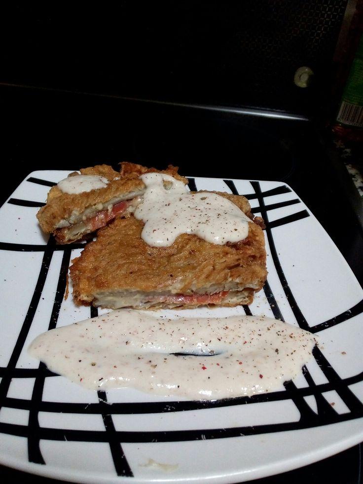 Cachopo de setas con jamon iberico.