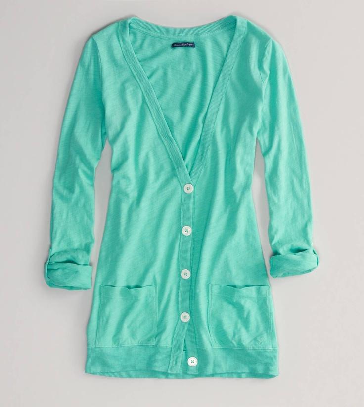 Minty Boyfriend Cardigan... Like umm cute!! Love the color!
