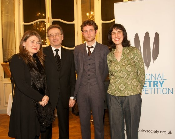 2010 National Poetry Competition winner  Paul Adrian (3rd from left) with judges Deryn-Rees, George Szirtes, Sinead Morrissey