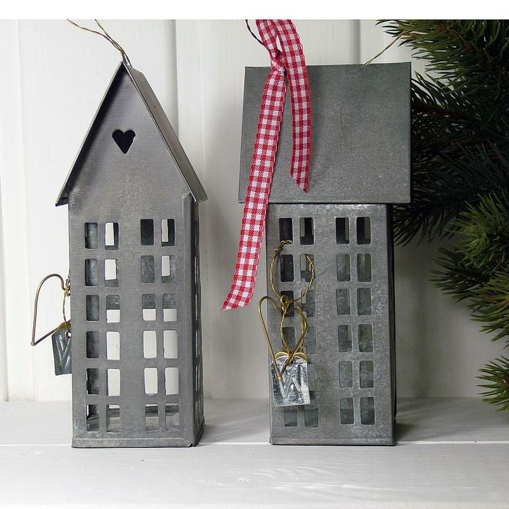 little zinc house candle holders <3