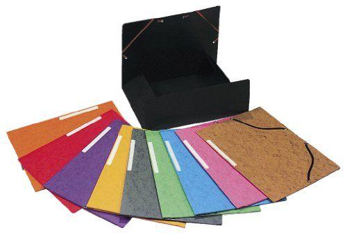 Exacompta – 55510E – Chemises Cartonnées – 3 Rabats à élastiques – Coloris Assortis – Lot de 10